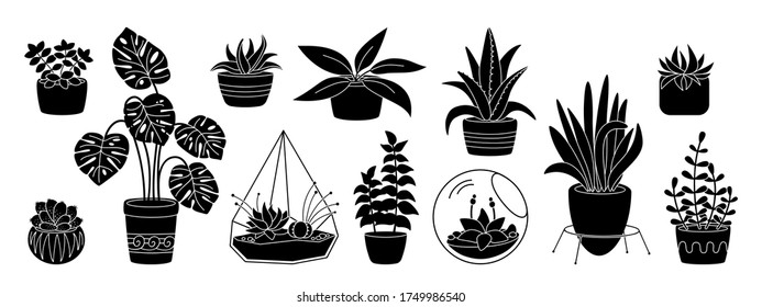 Succulents and plant, decorative potted ceramic flat silhouette set. Black glyph cartoon house indoor flower. House plants, cactus, monstera, aloe flowerpot. Isolated vector illustration