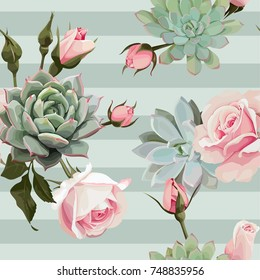 Succulents and roses vector seamless pattern of floral ornament with green stripes.