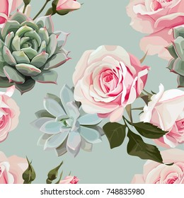 Succulents and roses vector seamless pattern of floral ornament with mint green flowered background