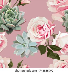 Succulents and roses vector seamless pattern of floral ornament with Dusty Pink flowered background