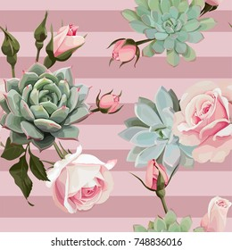 Succulents and roses vector seamless pattern of floral ornament with dusty pink stripes.