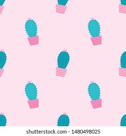 Succulents seamless pattern on a pink background. Vector Illustration