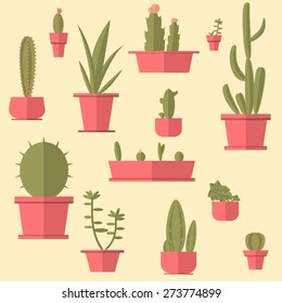 Succulents set. Flat design.