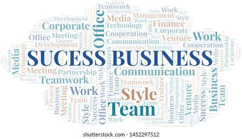 Sucess Business word cloud. Collage made with text only.