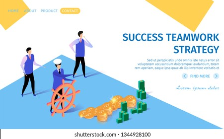 Sucess Teamwork Strategy Horizontal Banner with Copy Space. Business Navigation. Businessman in Cap Driving Steering Wheel in Money Direction. Colleagues Nearby. 3d Flat Vector Isometric Illustration.
