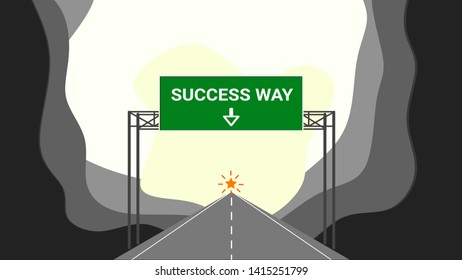 sucessful concept that the straightway road going to bright sucess place
