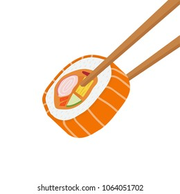 Suchi and chopsticks cartoon vector. free space for text. wallpaper. background