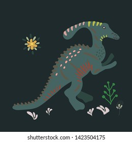 Suchomimus hand illustration on black background. Cartoon characters isolated design element. T-shirt, poster, vector, greeting card vector design. Vector