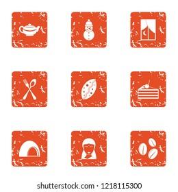Sucrose icons set. Grunge set of 9 sucrose vector icons for web isolated on white background