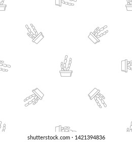 Suculent cactus pot pattern seamless vector repeat geometric for any web design