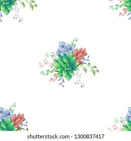 Sucullent pattern design. Trendy flower gradients. Vector cactus illustration.