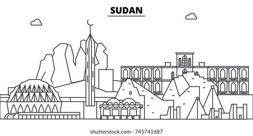 Sudan architecture skyline buildings, silhouette, outline landscape, landmarks. Editable strokes. Urban skyline illustration. Flat design vector, line concept