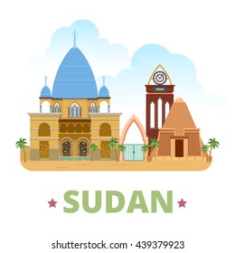 Sudan country flat cartoon style historic sight showplace web site vector illustration. World travel sightseeing Africa African collection. Tomb of the Mahdi Pyramids of Meroe University of Khartoum.