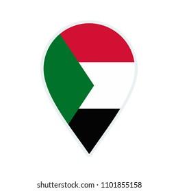Sudan flag icon. Travel icon. Travel destination of Sudan. Sudan badge. Flag badge.