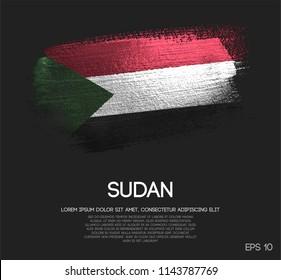 Sudan Flag Made of Glitter Sparkle Brush Paint Vector