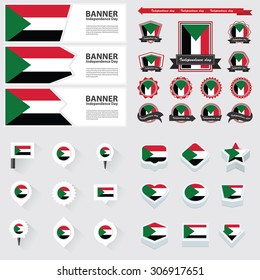 sudan independence day, infographic, and label Set.