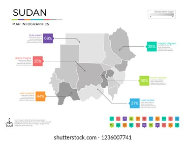 Sudan  map infographics with editable separated layers, zones, elements and district area in vector
