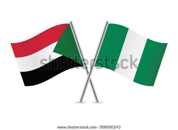 Sudan and Nigeria flags. Vector illustration.