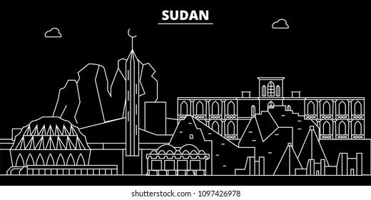 Sudan silhouette skyline, vector city, sudanese linear architecture, buildings. Sudan travel illustration, outline landmarkflat icon, sudanese line banner