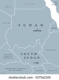 Sudan and South Sudan political map with capitals Khartoum and Juba. Two republics in Eastern Africa, with national borders and neighbor countries. Gray illustration with English labeling. Vector.