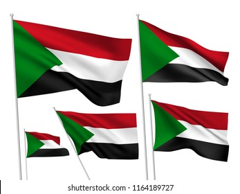 Sudan vector flags set. 5 different wavy fabric 3D flags fluttering on the wind. EPS 8 created using gradient meshes isolated on white background. Five design elements from world collection