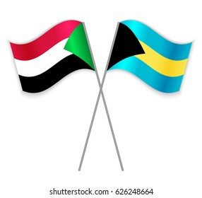 Sudanese and Bahamian crossed flags. Sudan combined with Bahamas isolated on white. Language learning, international business or travel concept.