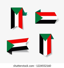 Sudanese flag stickers and labels set. Vector illustration.