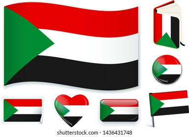 Sudanese national flag. Vector illustration. 3 layers. Shadows, flat flag, lights and shadows. Collection of 220 world flags. Accurate colors. Easy changes.