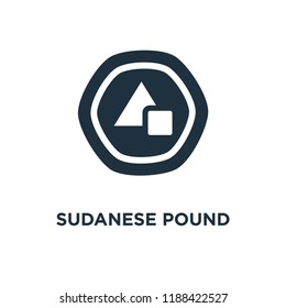 Sudanese Pound icon. Black filled vector illustration. Sudanese Pound symbol on white background. Can be used in web and mobile.