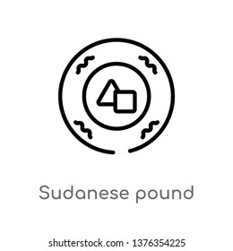 sudanese pound vector line icon. Simple element illustration. sudanese pound outline icon from africa concept. Can be used for web and mobile