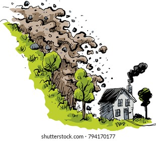 A sudden mudslide of dirt and rock falls towards a small house at the bottom of a hill.