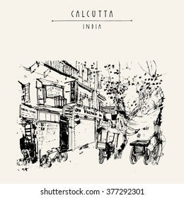 Sudder street in Calcutta, West Bengal, India. Old buildings, guest houses. rickshaws, trees. Hand drawn cityscape sketch. Travel art. Vintage artistic postcard template. Vector illustration