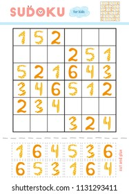 Sudoku for children, education game. Set of cartoon numbers. Use scissors and glue to fill the missing elements