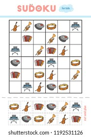 Sudoku for children, education game. Set of musical intstruments - Accordion, Tambourine, Cymbals, Cello, Synthesizer, Trumpet. Use scissors and glue to fill the missing elements