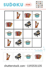 Sudoku for children, education game. Set of musical intstruments - Accordion, Grand  piano, Pedal harp, Drum. Use scissors and glue to fill the missing elements