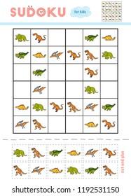 Sudoku for children, education game. Set of dinosaurs - Euoplocephalus, Pteranodon, Triceratops, Stegosaurus, Deinonychus, Tyrannosaurus. Use scissors and glue to fill the missing elements