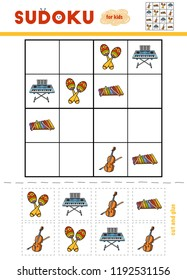 Sudoku for children, education game. Set of musical intstruments - Maracas, Cello, Xylophone, Synthesizer. Use scissors and glue to fill the missing elements