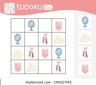 Sudoku game for children with pictures. Kids activity sheet.  Cartoon ballerina accessories.