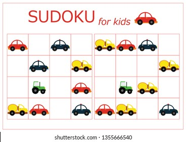 Sudoku for kids. Sudoku. Children's puzzles. Educational game for children. colored cars (red, yellow, green, blue)