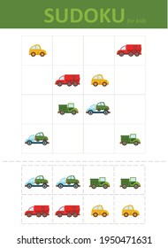 Sudoku for kids. Children's puzzles. Educational game for children. colored cars