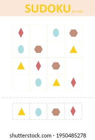 Sudoku for kids. Sudoku. Children's puzzles. Educational game for children.color geometric shapes