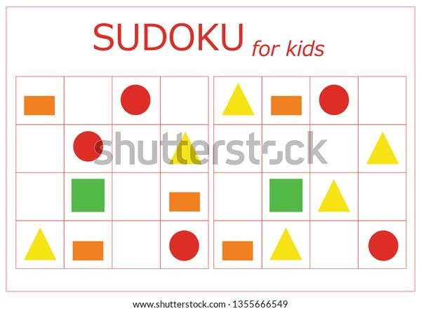 Sudoku Kids Sudoku Childrens Puzzles Educational Stock