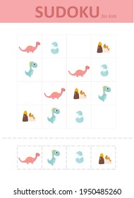 sudoku for kids with dinosaurs. Sudoku. Children's puzzles. Educational game for children.