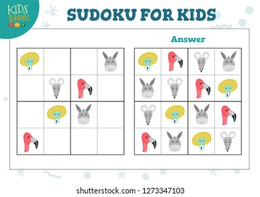 Sudoku for kids educational game vector illustration. Maze with hand drawn animals heads