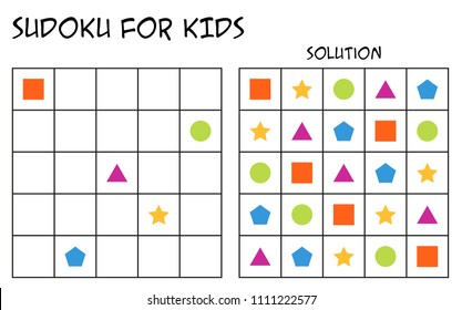 Sudoku for kids with solution, puzzle for children to complete each row or column with just one of each shapes, mental task, logical but easy challenge (version 2)