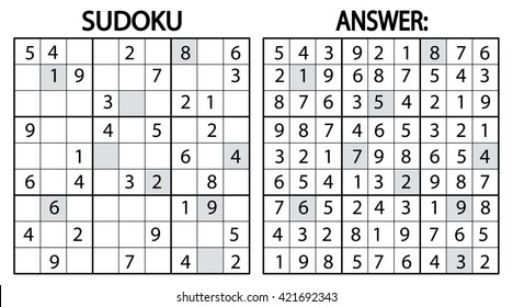 sudoku logic puzzle game. Vector logic sudoku puzzle game with numbers. Can be used as educational game for kids or leisure game for adults