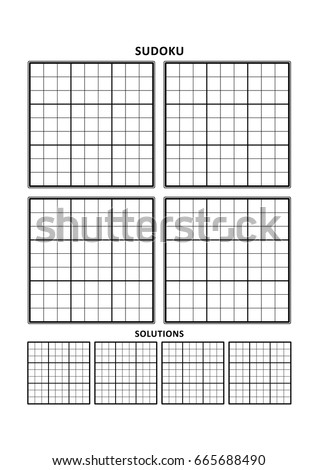 Sudoku Puzzle Blank Template Four Grids Stock Vector Royalty Free