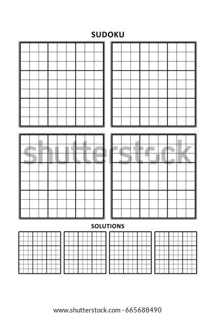 graphic about Blank Sudoku Grid Printable named Sudoku Puzzle Blank Template 4 Grids Inventory Vector
