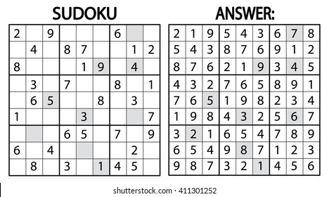 sudoku puzzle game. Vector sudoku puzzle game with numbers. Can be used as educational game for kids or leisure game for adults