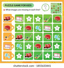 Sudoku puzzle. What images are missing in each line? Sports equipment. Hockey. Skates with helmet, stick and puck. Logic puzzle for kids. Game for children. Worksheet vector design for schoolers